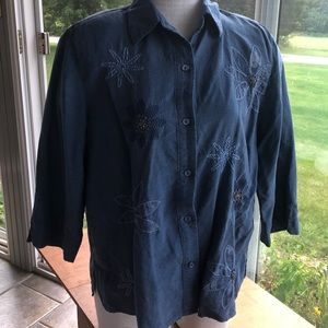 Alfred Dunner 100% silk blouse 3/4 sleeves 18